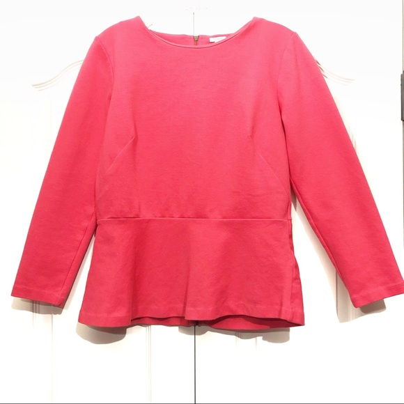d38f9cd81c1567 J. Crew Tops | J Crew Peplum Top Coral Long Sleeved Size Small ...